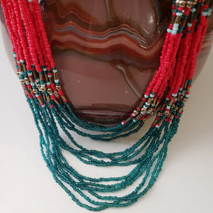 Jewelry - Red/teal beaded long necklace